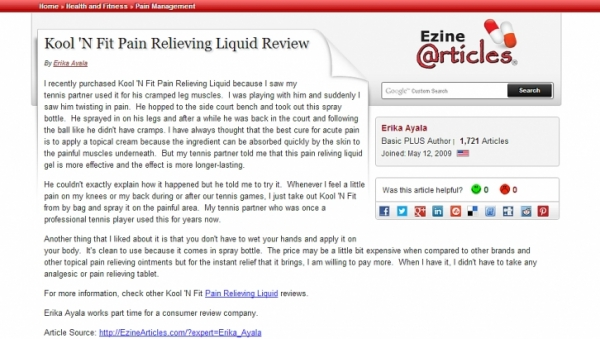 Another winning Pain Relieving spray review, by eZine