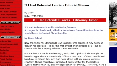 Floyd Landis pouring KNF on his privates?